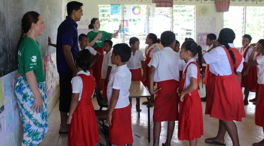 Students teach a class during their Nutrition internship in Samoa.